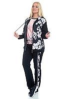 Женский осенний трикотажный спортивный большого размера спортивный костюм FORMAT 11276 черный-персик 50р.