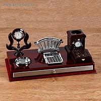 Набор настольный 6в1 (термометр в резн.кант,подставка п/визит,кальк-ор,бумага,часы, скрепочн)