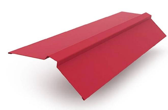 Планка конька плоского 120х120х2000 мм Матовый Красный RAL 3005