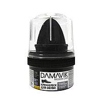 """Крем-блеск для обуви """"DAMAVIK"""" с губкой в пластиковой банке, чёрный, 50 мл."""