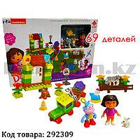 Игровой набор конструктор Даша Путешественница Dora the explorer Ферма с животными 69 деталей N-83 c 99004