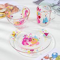 Набор Hasbro My Little Pony, 3 предмета: кружка 250 мл, салатник d= 13 см, тарелка 19,5 см, в подарочной