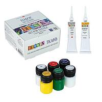 Краска по ткани, набор: 5 цветов х 20 мл, контур 2 цвета х 18 мл, разбавитель; Decola (акриловая на водной