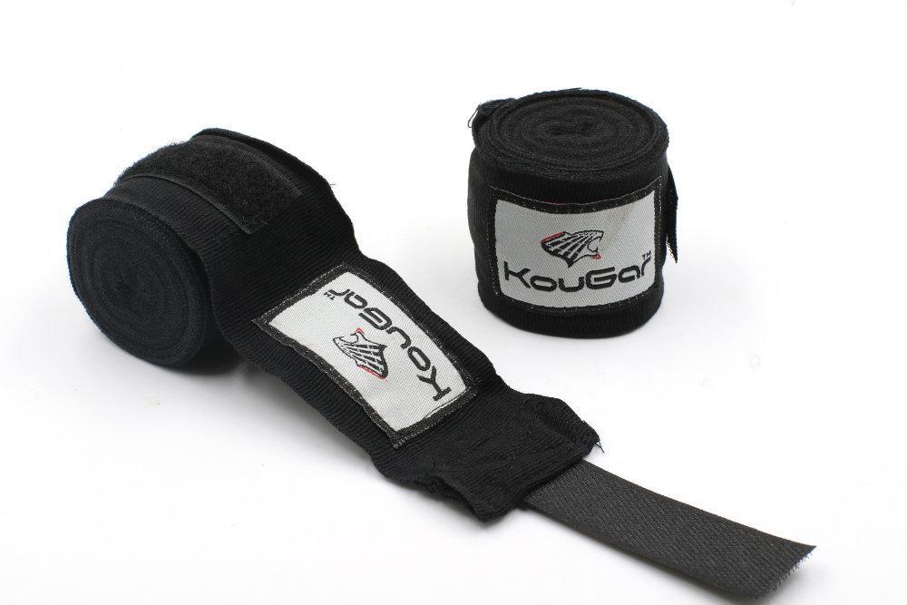 Бинт боксерский KOUGAR K400, 3,5м, эластичный хлопок, черный