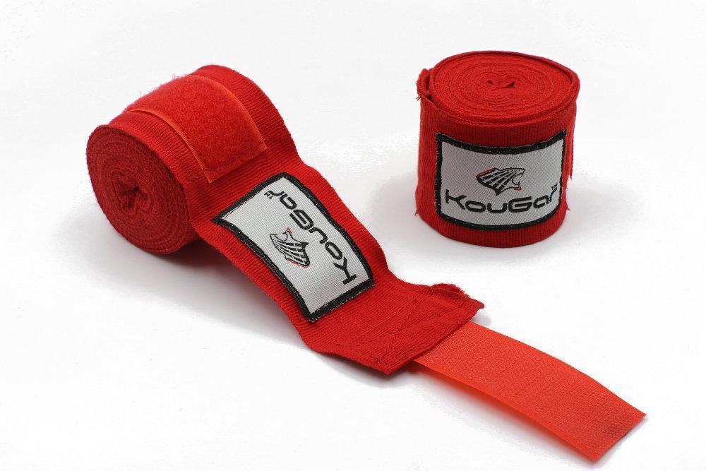 Бинт боксерский KOUGAR K500, 3,5м, эластичный хлопок, красный