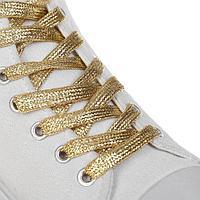 Шнурки для обуви, пара, плоские, 8 мм, 110 см, цвет золотой