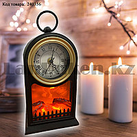 Светодиодный камин-ночник с часами светильник с эффектом живого огня электрический и от сети SP-14