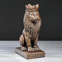 """Статуэтка """"Лев царь"""", бронзовый цвет, 37 см"""