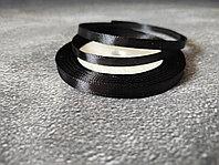 Атласная лента черная , 0,5см*25м