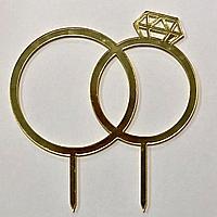 """Топпер орг стекло, зеркальный """"Обручальные кольца"""""""