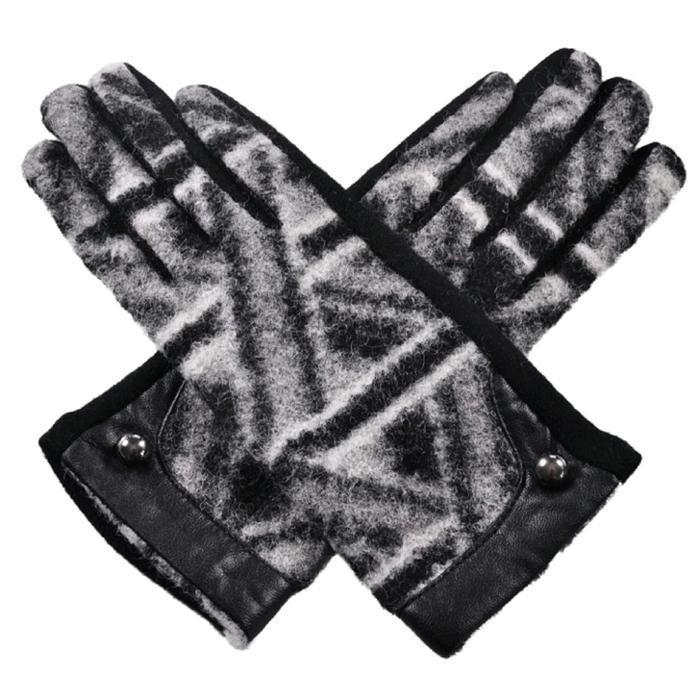 Перчатки женские, размер one size, цвет чёрный-белый