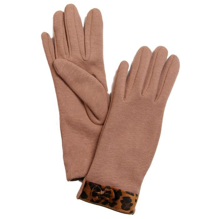 Перчатки женские, размер 8, цвет бежевый, коричневый