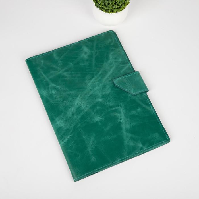 Папка д/документов, 2 компл, д/карт, на кнопке, пулл-ап,  зеленый