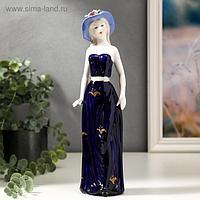 """Сувенир керамика """"Девушка в шляпке с цветами в синем платье"""" 30х8,5х6 см"""