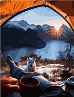 """Картина по номерам """"Красивый вид из палатки"""", 40х50 см"""
