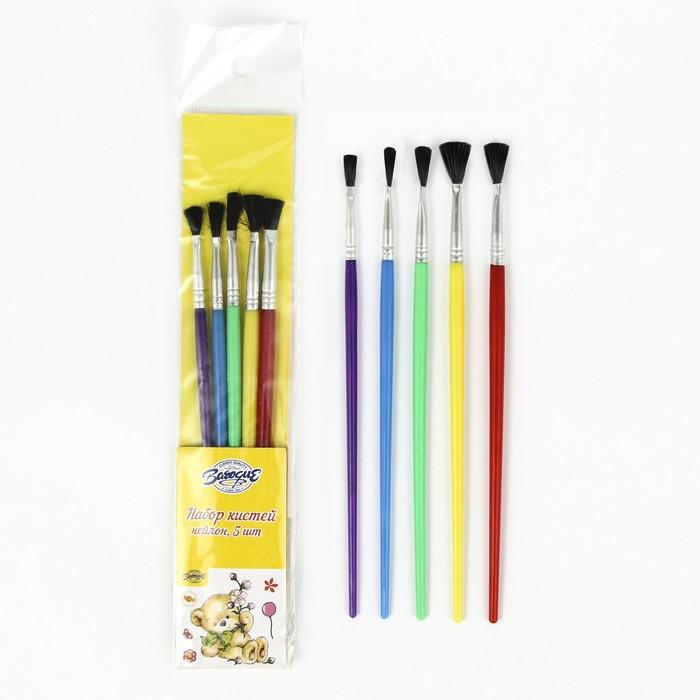 Набор кистей, нейлон, плоские, 5 шт., с пластиковыми цветными ручками