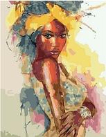"""Картина по номерам """"Портрет африканки акварелью"""", 40х50 см"""