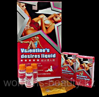 Влажные Желания Валентины (Valentine's Desires liquid) - Возбуждающие капли и порошок для женщин.
