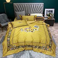 Комплект постельного белья двуспальный king-size HERMES сатин LUX с лошадьми
