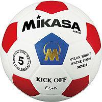 "Мяч футб. ""MIKASA S5-K-BR"", р.5, гл.синт.кожа (ПУ), 32 панели, клееный, лат.кам, бело-красно-синий"