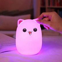 Светильник силиконовый «Милый котик» COLORFUL SILICON ANIMAL LIGHT, фото 2