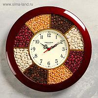 """Часы настенные, серия: Кухня, """"Специи"""", бордовый обод, 29х29 см"""