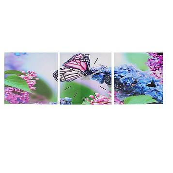 """Часы-картина настенные, серия: Цветы, """"Бабочка на ветке сирени"""", 35х105  см, микс"""