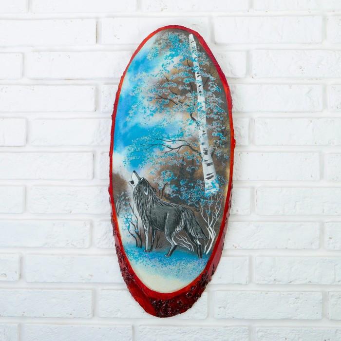 """Панно на спиле """"Зима.Волк"""", 52-56 см, каменная крошка, вертикальное"""
