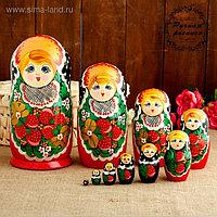 Матрёшка «Хохлома», красное платье, 10 кукольная, 26 см