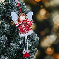 """Мягкая подвеска """"Ангел - девочка в платье с олешками, со звездами 16 см"""