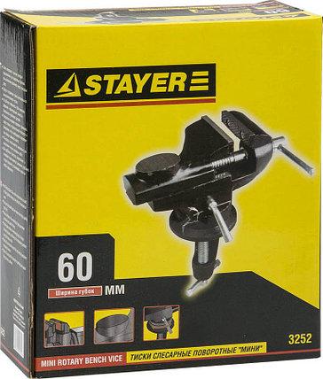Тиски STAYER 60x35 мм,  с поворотным механизмом (3252), фото 2