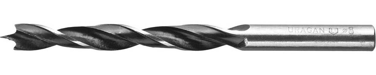 Сверло по дереву спиральное URAGAN d=8 x 110/65 мм (29419-110-08)