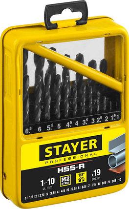 Набор сверл спиральных по металлу Stayer, 19 шт. (Ø 1-10 мм), HSS-R (29602-H19-M_z01), фото 2
