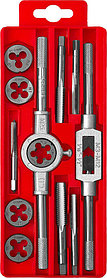 ЗУБР 12 предметов, 9ХС, набор метчиков и плашек в пластик. боксе  (28121-H12)