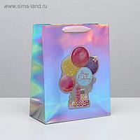 Пакет голографический вертикальный Happy Birthday, 26 × 32 × 12 см