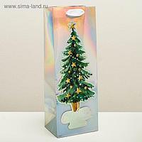 Пакет голографический под бутылку «Новогоднее настроение», 13 × 36 × 10 см