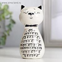 """Сувенир керамика """"Котик с кудрявым брюшком"""" бело-чёрный с золотом 10,7х5,2х7,2 см"""