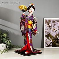 """Кукла коллекционная """"Гейша в фиолетовом кимоно с веером"""" 42х16,5х16,5 см"""