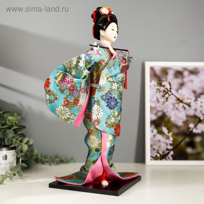 """Кукла коллекционная """"Гейша в бирюзовом кимоно с цветами"""" 42х16,5х16,5 см - фото 2"""