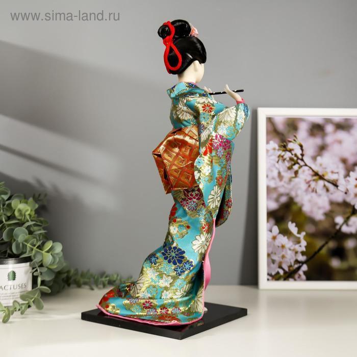 """Кукла коллекционная """"Гейша в бирюзовом кимоно с цветами"""" 42х16,5х16,5 см - фото 3"""