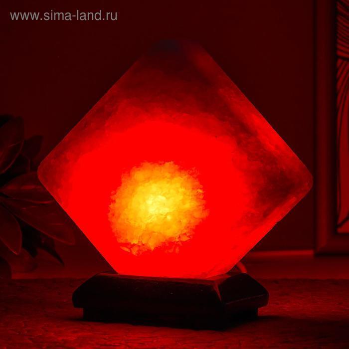"""Соляной светильник """"Кубик"""" LED (диод цветной) USB белая соль 10х9х7 см - фото 1"""