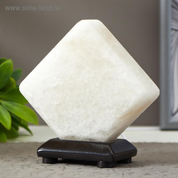 """Соляной светильник """"Кубик"""" LED (диод цветной) USB белая соль 10х9х7 см - фото 2"""