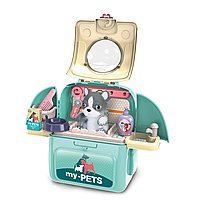 Собачка в чемодане - рюзаке 2 в 1 My pets голубой