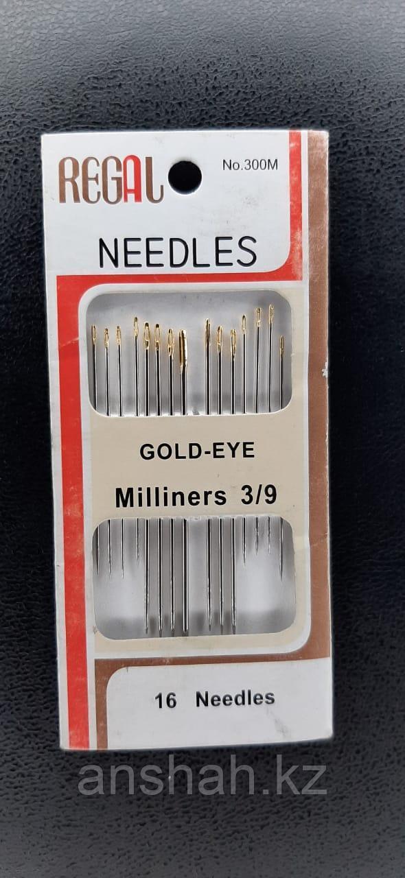 Иглы для шитья Needles золотое ушко набор 16 игл