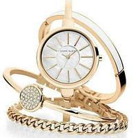 Часы наручные женские Anne Klein с тремя дизайнерскими браслетами (Белый в золоте)