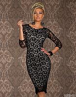 Гипюровое черно-белое платье