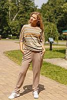 Женские осенние трикотажные бежевые спортивное большого размера брюки Belarusachka С5635 корица 44р.