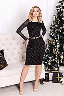Женское осеннее трикотажное черное нарядное платье MEDIUM 5106 42р.