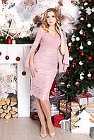 Женское осеннее кружевное розовое нарядное платье MEDIUM 5108 42р.
