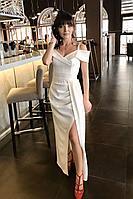 Женское осеннее белое нарядное платье MEDIUM 5112.1 42р.